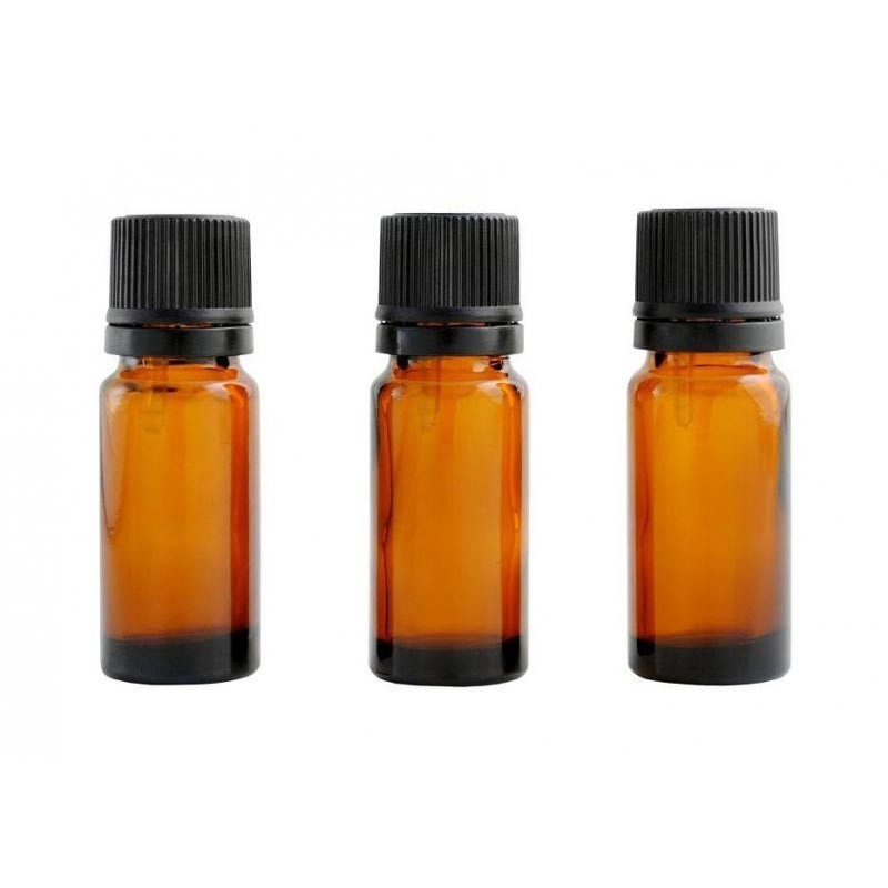 Pack of three 10ml amber bottles with dropper