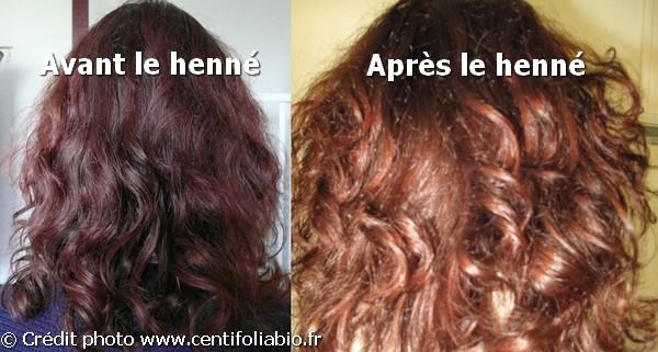 Henné sur cheveux châtain
